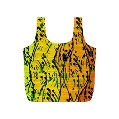 Gentle Yellow Abstract Art Full Print Recycle Bags (s)  by Valentinaart