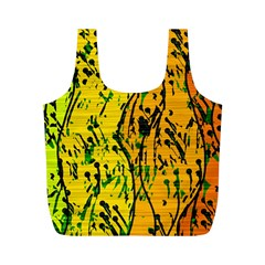 Gentle Yellow Abstract Art Full Print Recycle Bags (m)  by Valentinaart