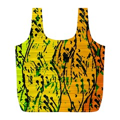 Gentle Yellow Abstract Art Full Print Recycle Bags (l)  by Valentinaart