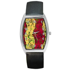 Maroon And Ocher Abstract Art Barrel Style Metal Watch by Valentinaart