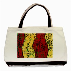 Maroon And Ocher Abstract Art Basic Tote Bag by Valentinaart