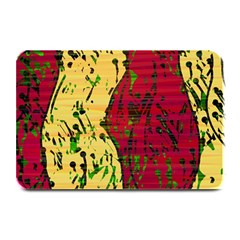 Maroon And Ocher Abstract Art Plate Mats by Valentinaart