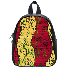 Maroon And Ocher Abstract Art School Bags (small)  by Valentinaart