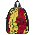Maroon and ocher abstract art School Bags (Small)  Front
