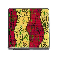 Maroon And Ocher Abstract Art Memory Card Reader (square) by Valentinaart