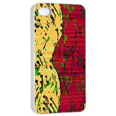 Maroon And Ocher Abstract Art Apple Iphone 4/4s Seamless Case (white) by Valentinaart