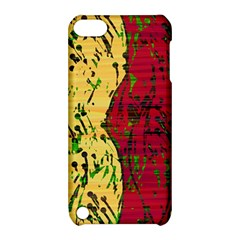 Maroon And Ocher Abstract Art Apple Ipod Touch 5 Hardshell Case With Stand