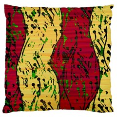 Maroon And Ocher Abstract Art Large Flano Cushion Case (two Sides) by Valentinaart