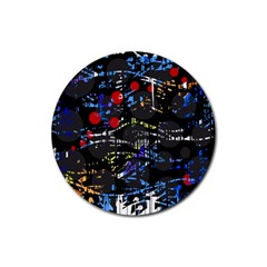 Blue Confusion Rubber Coaster (round)  by Valentinaart