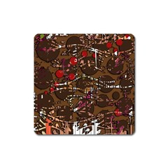 Brown Confusion Square Magnet by Valentinaart