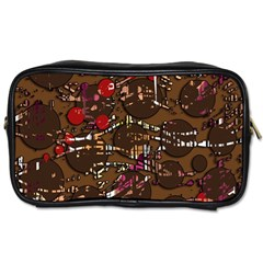 Brown Confusion Toiletries Bags 2-side by Valentinaart