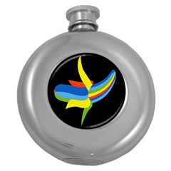 Abstraction Banana Round Hip Flask (5 Oz) by AnjaniArt