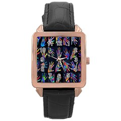 Art With Your Hand Rose Gold Leather Watch