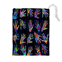 Art With Your Hand Drawstring Pouches (extra Large)