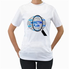 Article Market Plan Women s T Shirt (white) (two Sided)
