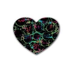 Graffiti Style Design Heart Coaster (4 Pack)  by Valentinaart