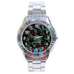 Graffiti Style Design Stainless Steel Analogue Watch