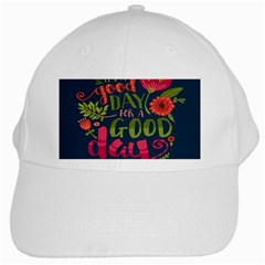 C mon Get Happy With A Bright Floral Themed Print White Cap
