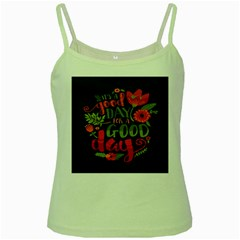 C mon Get Happy With A Bright Floral Themed Print Green Spaghetti Tank by AnjaniArt