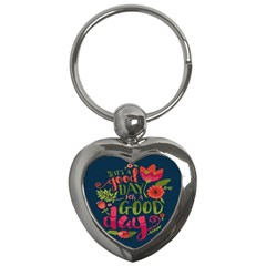 C mon Get Happy With A Bright Floral Themed Print Key Chains (heart)