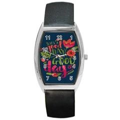 C mon Get Happy With A Bright Floral Themed Print Barrel Style Metal Watch by AnjaniArt
