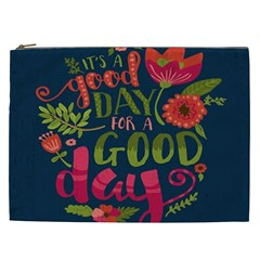 C mon Get Happy With A Bright Floral Themed Print Cosmetic Bag (xxl)  by AnjaniArt