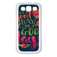 C mon Get Happy With A Bright Floral Themed Print Samsung Galaxy S3 Back Case (white)