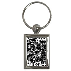 Black And White Confusion Key Chains (rectangle)  by Valentinaart