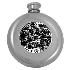 Black And White Confusion Round Hip Flask (5 Oz) by Valentinaart