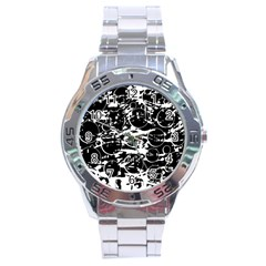 Black And White Confusion Stainless Steel Analogue Watch