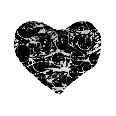 Black And White Confusion Standard 16  Premium Heart Shape Cushions by Valentinaart