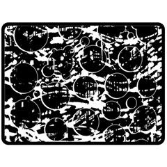 Black And White Confusion Double Sided Fleece Blanket (large)  by Valentinaart