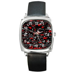 Red Symphony Square Metal Watch by Valentinaart