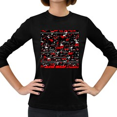 Red Symphony Women s Long Sleeve Dark T Shirts by Valentinaart
