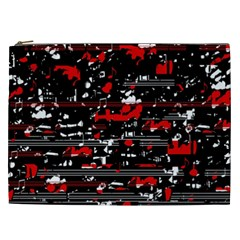Red Symphony Cosmetic Bag (xxl)  by Valentinaart
