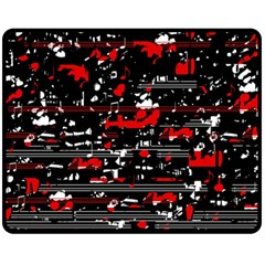 Red Symphony Double Sided Fleece Blanket (medium)  by Valentinaart