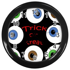 Trick Or Treat  Wall Clocks (black) by Valentinaart