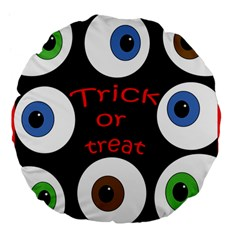 Trick Or Treat  Large 18  Premium Flano Round Cushions by Valentinaart
