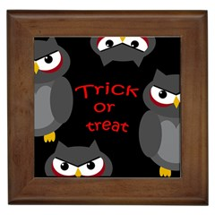 Trick Or Treat   Owls Framed Tiles by Valentinaart