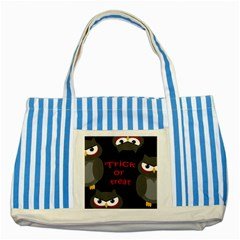 Trick Or Treat   Owls Striped Blue Tote Bag by Valentinaart