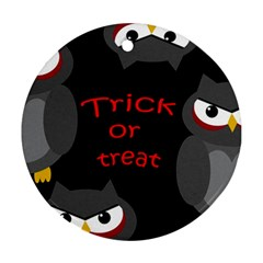 Trick Or Treat   Owls Round Ornament (two Sides)  by Valentinaart