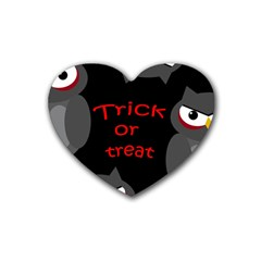 Trick Or Treat   Owls Rubber Coaster (heart)  by Valentinaart
