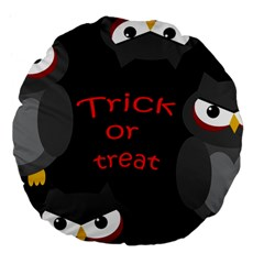 Trick Or Treat   Owls Large 18  Premium Flano Round Cushions by Valentinaart