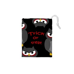 Trick Or Treat - Owls Drawstring Pouches (xs)  by Valentinaart