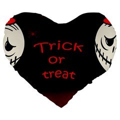 Trick Or Treat 2 Large 19  Premium Heart Shape Cushions by Valentinaart