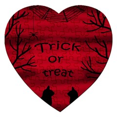 Trick Or Treat   Black Cat Jigsaw Puzzle (heart) by Valentinaart