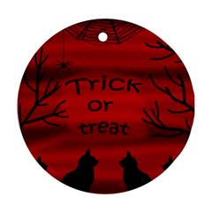 Trick Or Treat   Black Cat Round Ornament (two Sides)
