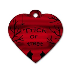 Trick Or Treat   Black Cat Dog Tag Heart (one Side) by Valentinaart