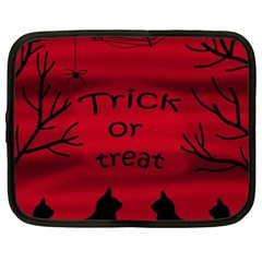 Trick Or Treat   Black Cat Netbook Case (large) by Valentinaart