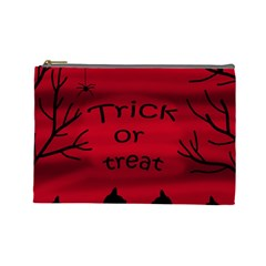 Trick Or Treat   Black Cat Cosmetic Bag (large)  by Valentinaart